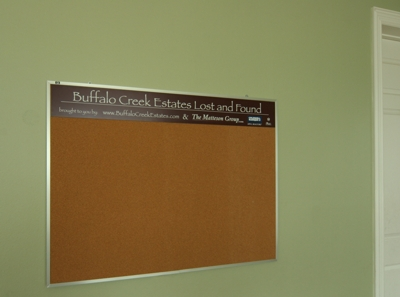 photo of lost and found board at buffalo creek estates