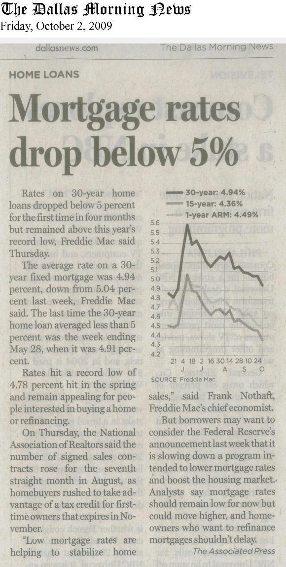 Mortgage Rates Drop October 2 2009